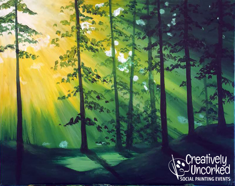 Sun Rays in the Forest at Creatively Uncorked https://creativelyuncorked.com/