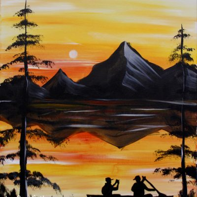 Sunset Canoe at Creatively Uncorked https://creativelyuncorked.com/