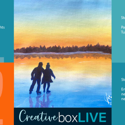 Sunset Skating CBL with CreativeBoxLIVE from Creatively Uncorked https://creativelyuncorked.com/