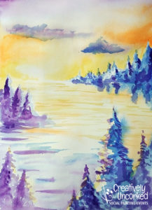 Sunset in the Woods in Watercolor at Creatively Uncorked https://creativelyuncorked.com