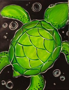 Swimming Turtle at Creatively Uncorked https://creativelyuncorked.com/