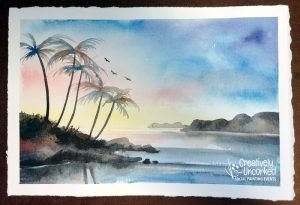 Tropical Sunset in Watercolor at Creatively Uncorked https://creativelyuncorked.com/