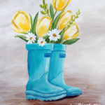 Tulips in Boots at Creatively Uncorked https://creativelyuncorked.com