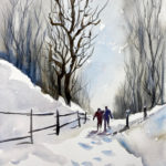 Walking the Winter Path in Watercolor in Watercolor at Creatively Uncorked https://creativelyuncorked.com
