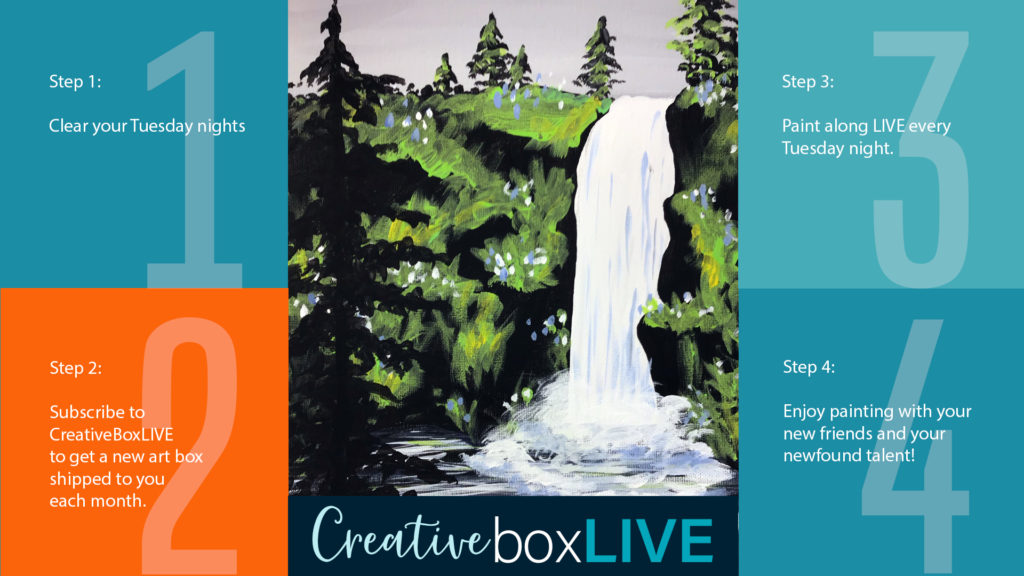 Waterfall at Dusk CBL a CreativeBoxLIVE painting by Creatively Uncorked
