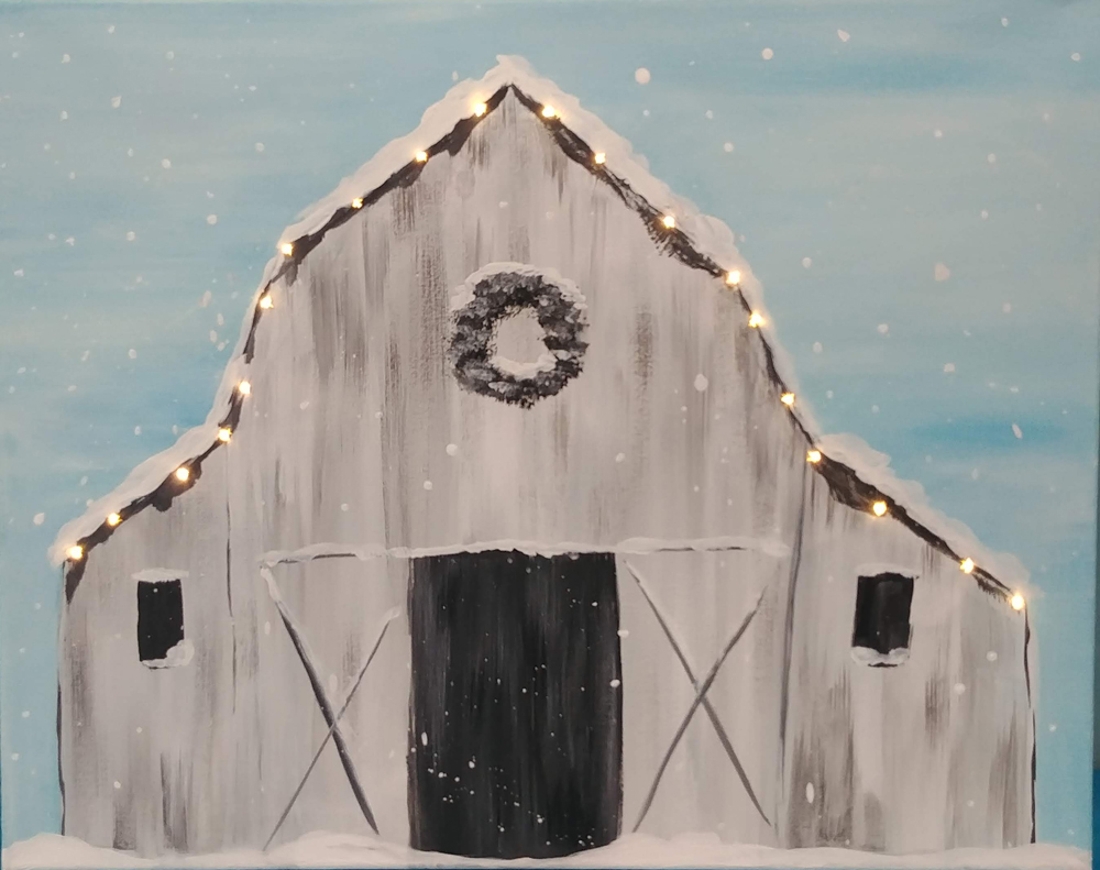 White Barn with Lights at Creatively Uncorked https://creativelyuncorked.com