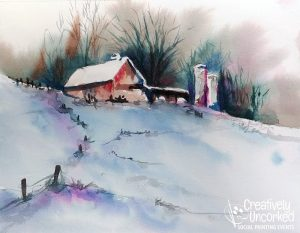 Winter Barn in Watercolor at Creatively Uncorked https://creativelyuncorked.com