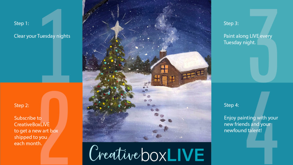 Winter Cabin CBL with CreativeBoxLIVE from Creatively Uncorked https://creativelyuncorked.com/