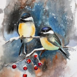 Winter Chickadees in Watercolor at Creatively Uncorked https://creativelyuncorked.com