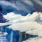 Blue Winter River in Watercolor at Creatively Uncorked https://creativelyuncorked.com
