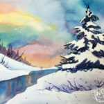 Winter Sunrise on the River in Watercolor at Creatively Uncorked https://creativelyuncorked.com