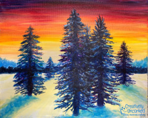 Winter Sunset Silhouette at Creatively Uncorked https://creativelyuncorked.com