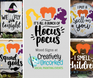Hocus Pocus Wood Signs at Creatively Uncorked https://creativelyuncorked.com