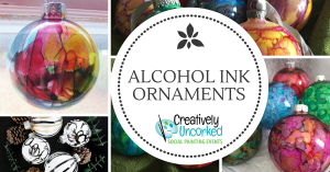 Alcohol Ink Ornaments at Creatively Uncorked https://creativelyuncorked.com/