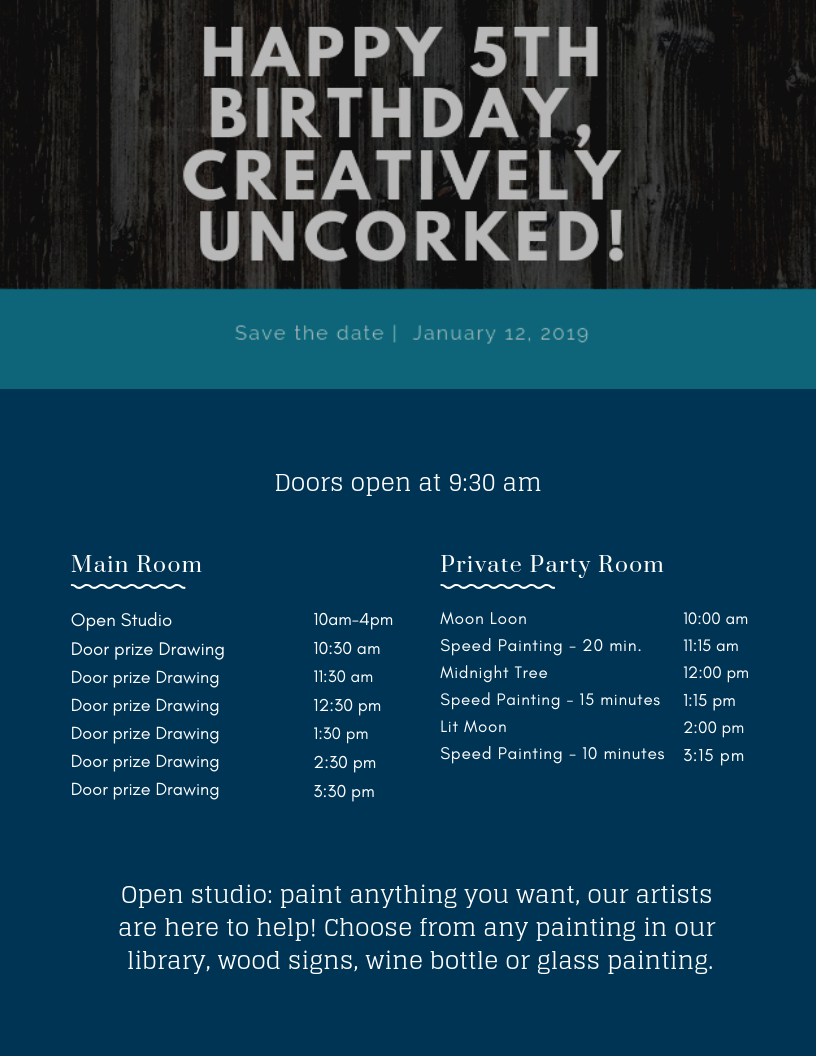 Creatively Uncorked Birthday Party open house itinerary