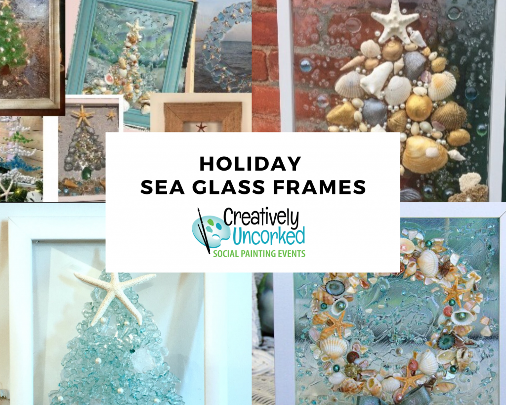 Holiday Sea Glass Frames at Creatively Uncorked https://creativelyuncorked.com